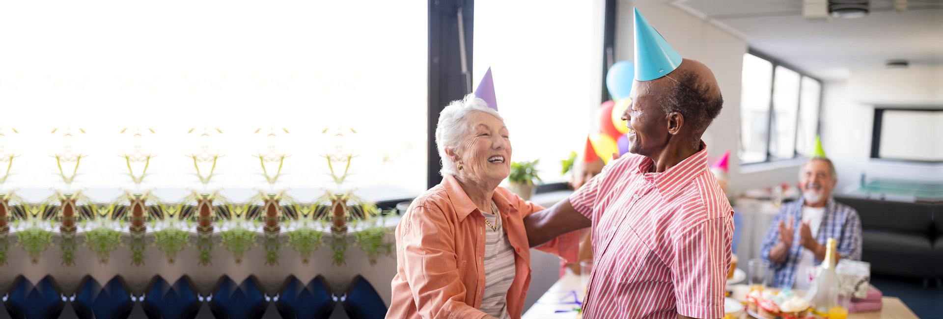 elderly people having fun